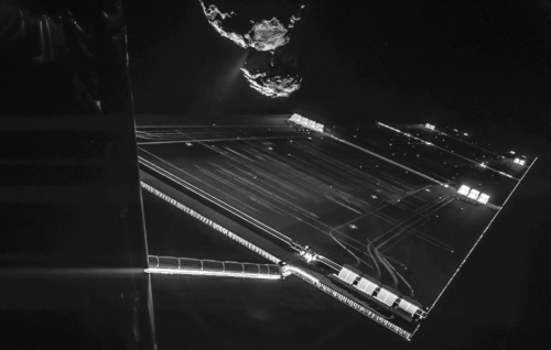 Selfie of Rosetta with the comet in the background.